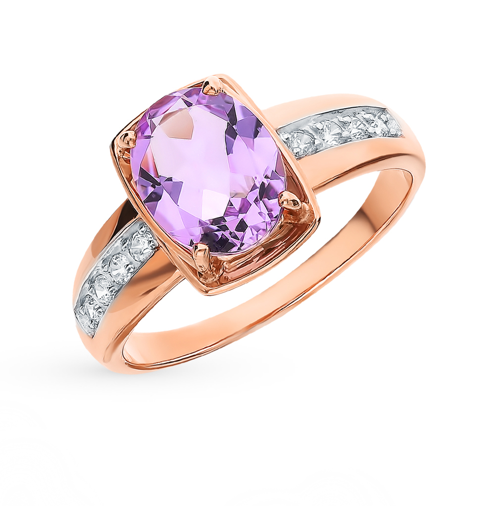 Фото «Золотое кольцо с аметистом и фианитами SOKOLOV 715313»
