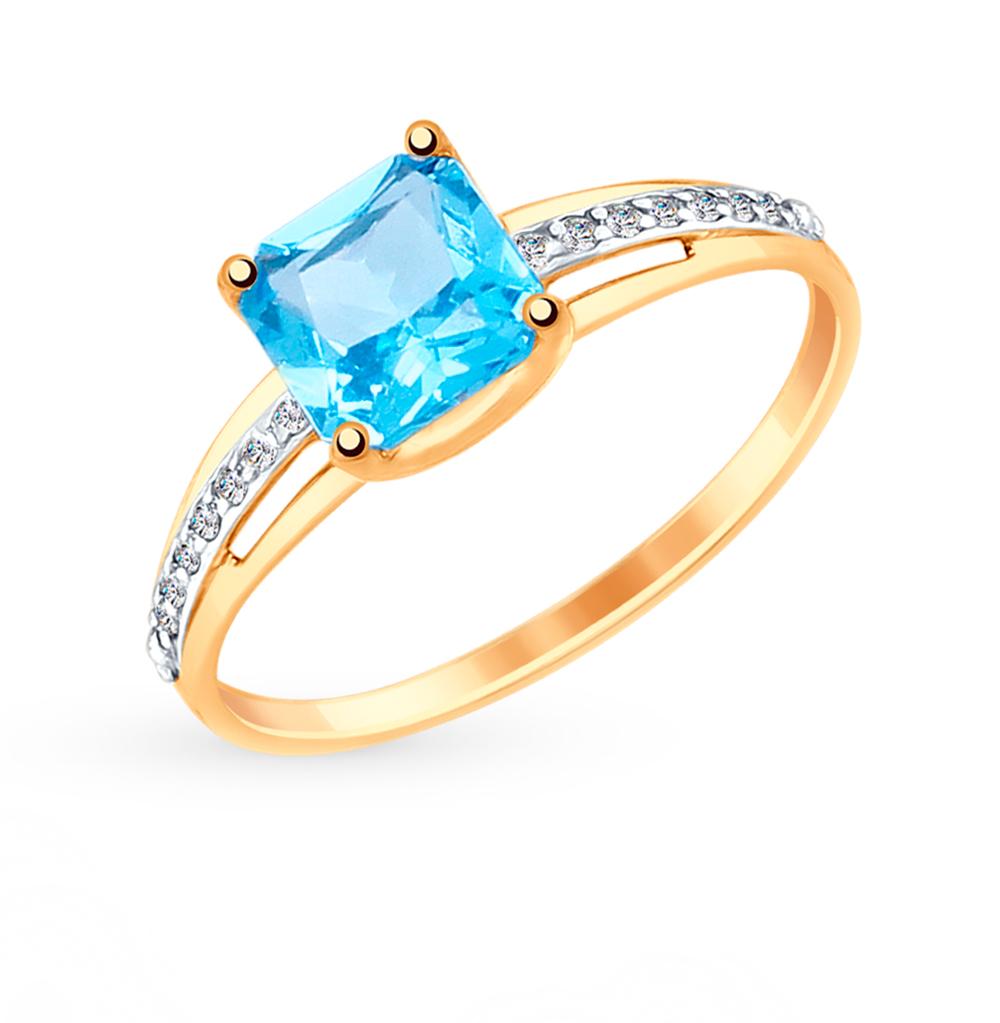 золотое кольцо с топазами и фианитами SOKOLOV 715001*