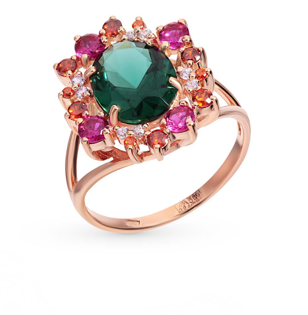 золотое кольцо с турмалинами, корундом и фианитами