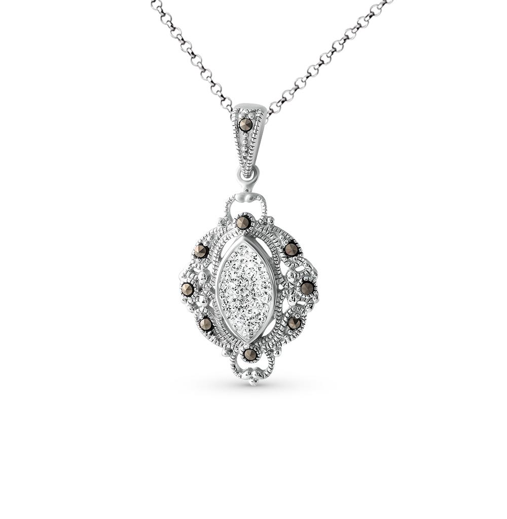 Фото «серебряная подвеска с кристаллами и марказитами»