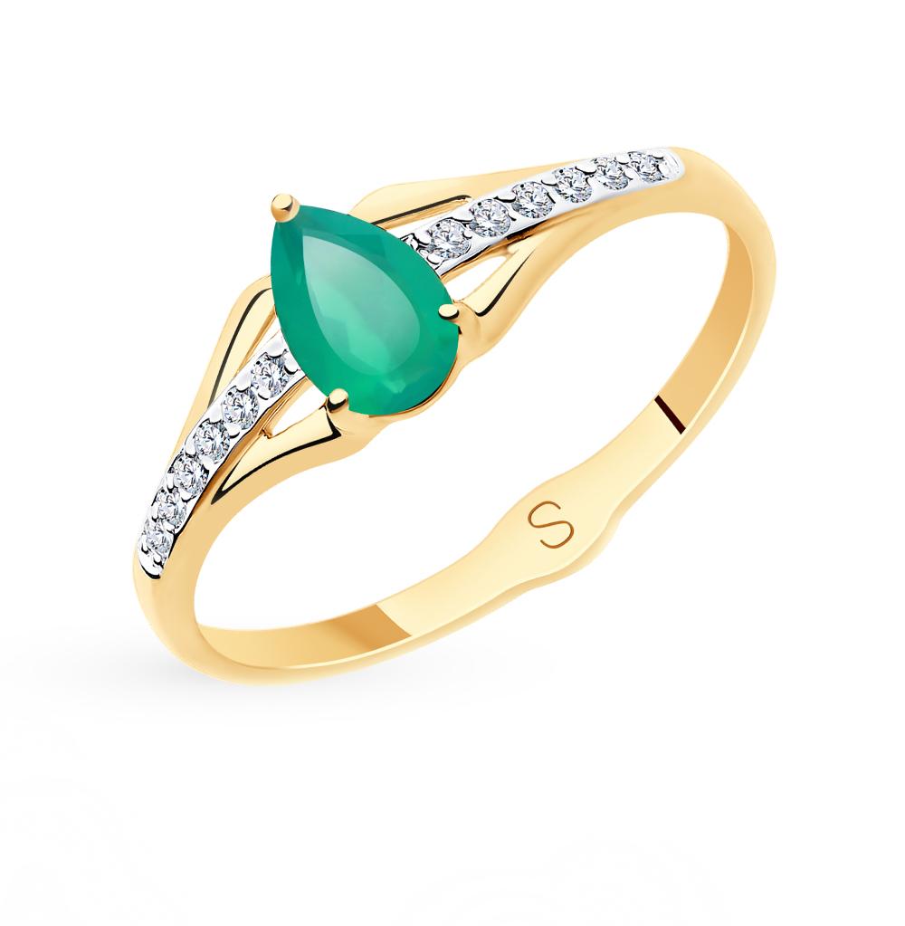 Фото «Золотое кольцо с фианитами и агатом SOKOLOV 715615*»