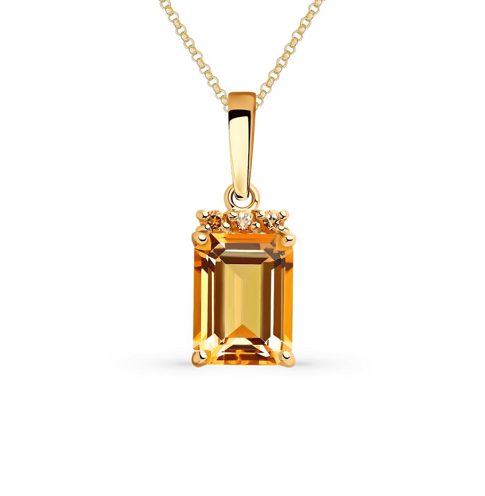 золотая подвеска с топазами SOKOLOV 731874*