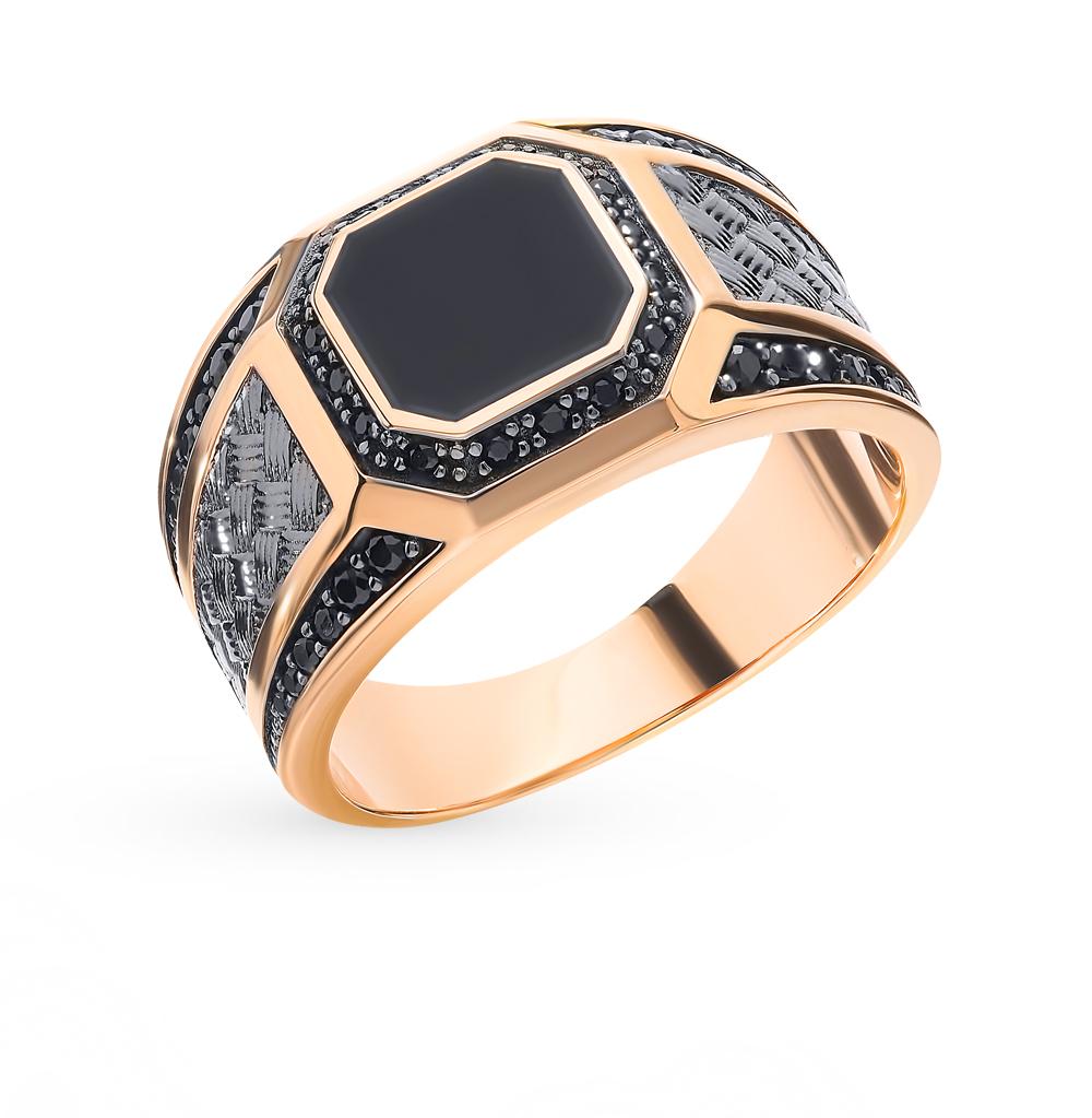 Мужское золотое кольцо с вставкой из оникса и фианитов