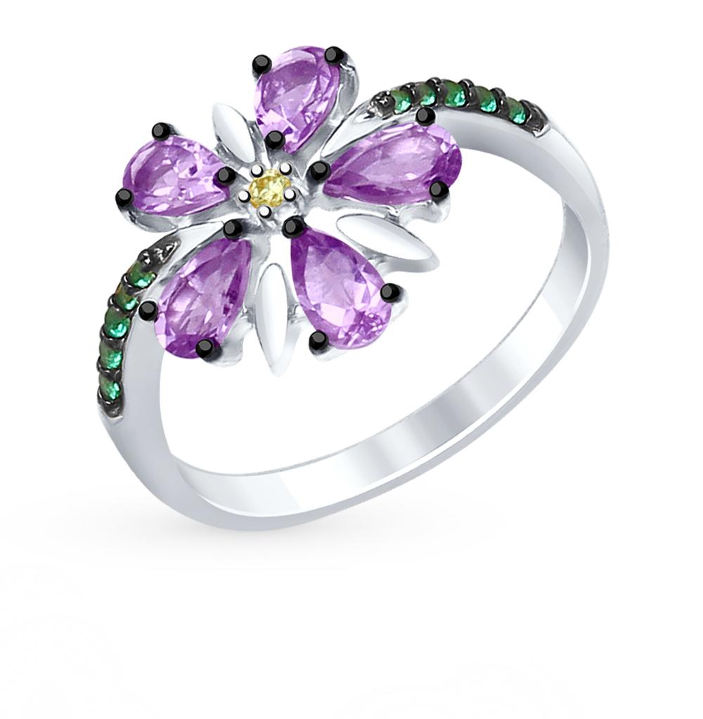 Фото «Серебряное кольцо с аметистом и фианитами SOKOLOV 92011414»