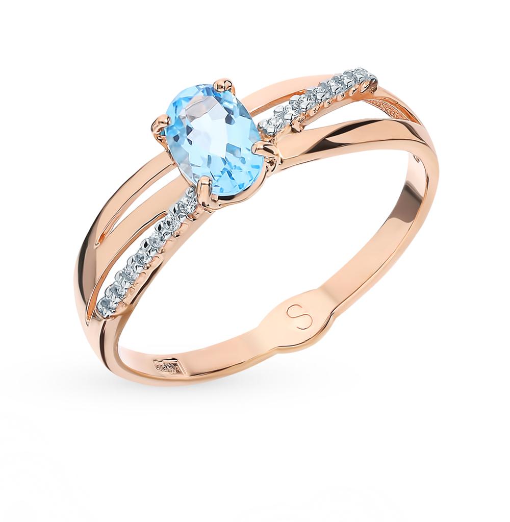 Золотое кольцо с топазом и фианитами SOKOLOV 715608*
