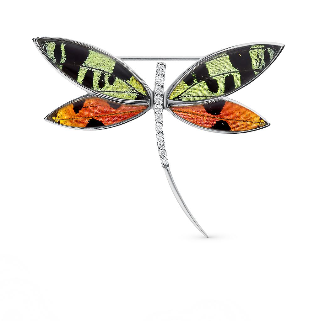 Фото «Серебряная брошь с фианитами, эмалью и крыльями бабочки, 5 см»
