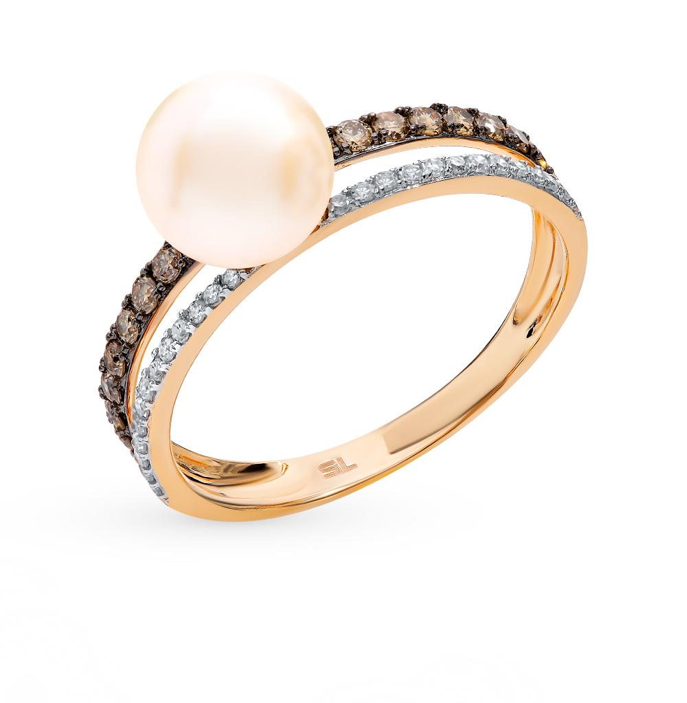 Золотое кольцо с коньячными бриллиантами, жемчугом в Екатеринбурге