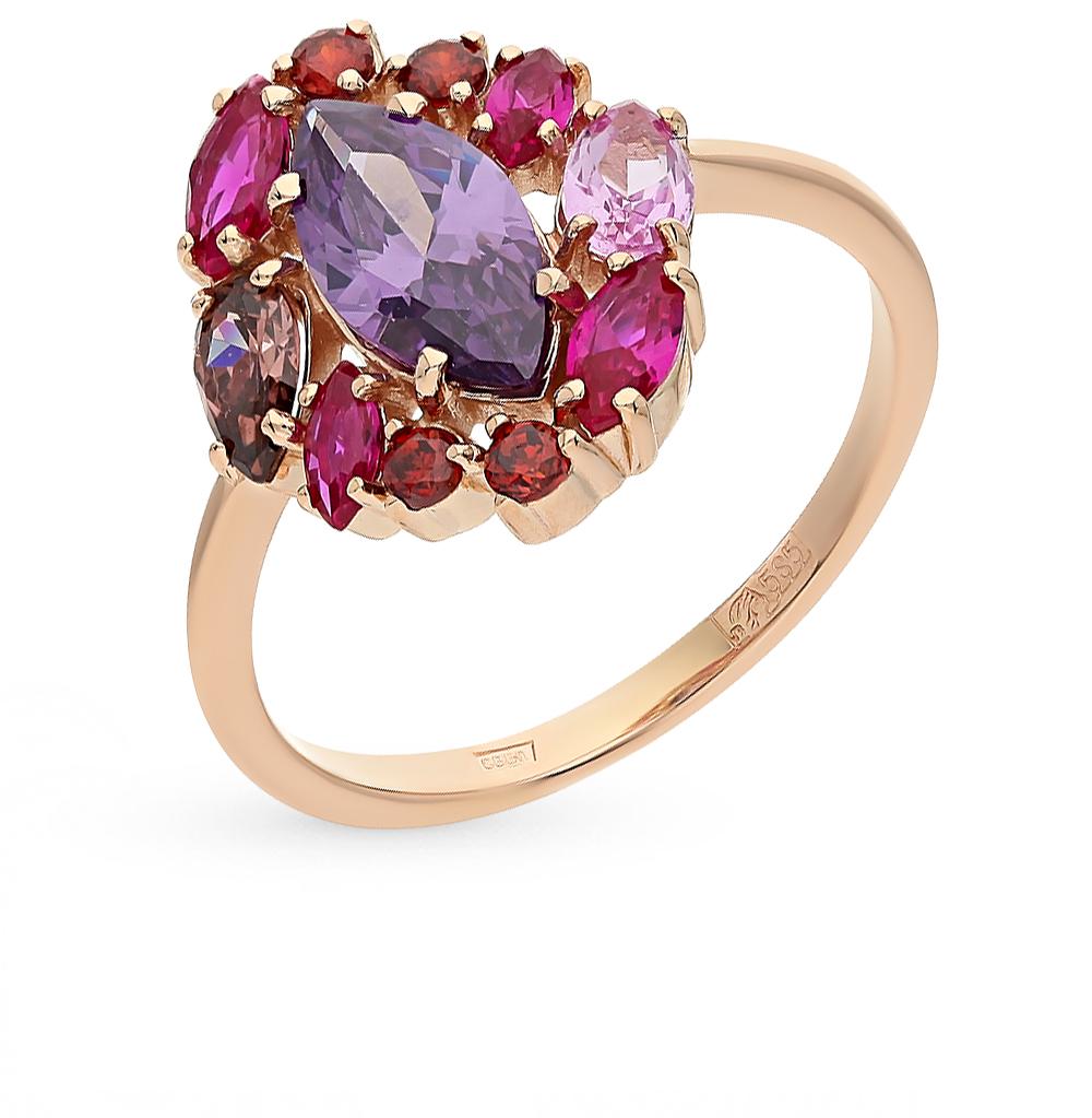 Фото «золотое кольцо с корундом, аметистом и родолитами»