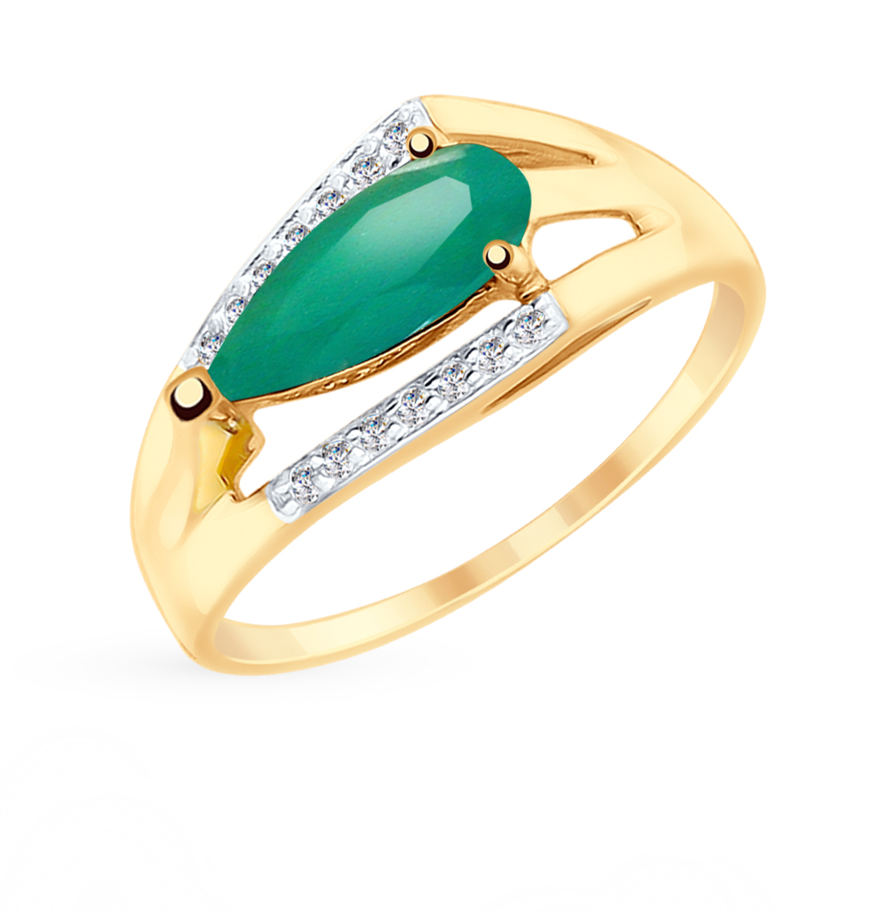 золотое кольцо с фианитами и агатом SOKOLOV 715251*