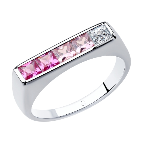 Серебряное кольцо с корундом и фианитами SOKOLOV 94013106 в Екатеринбурге