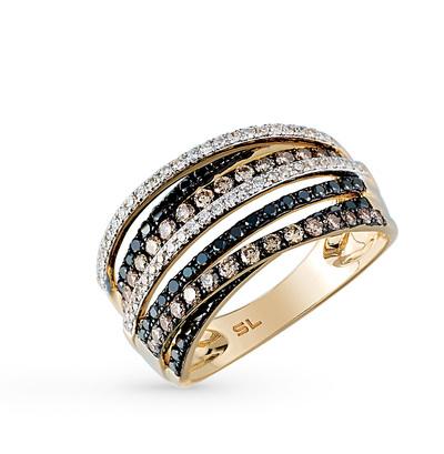 Фото «золото кольцо с чёрными и коньячными бриллиантами»
