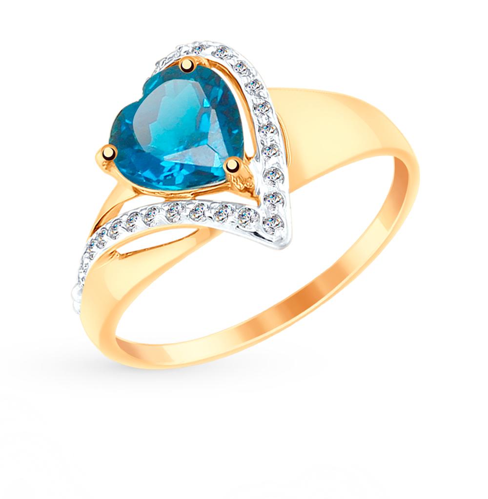 золотое кольцо с топазами и фианитами SOKOLOV 715040*