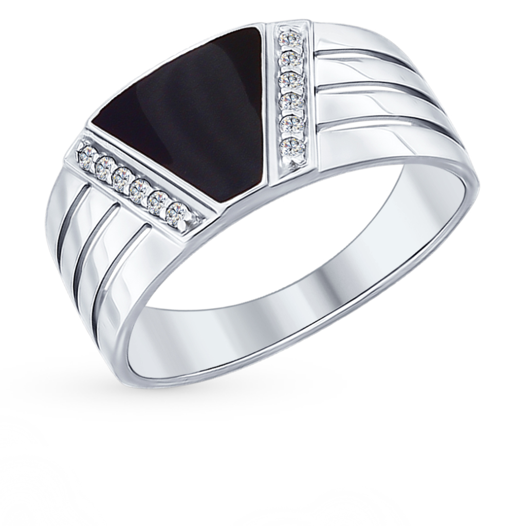 серебряное кольцо с фианитами и эмалью SOKOLOV 94012005