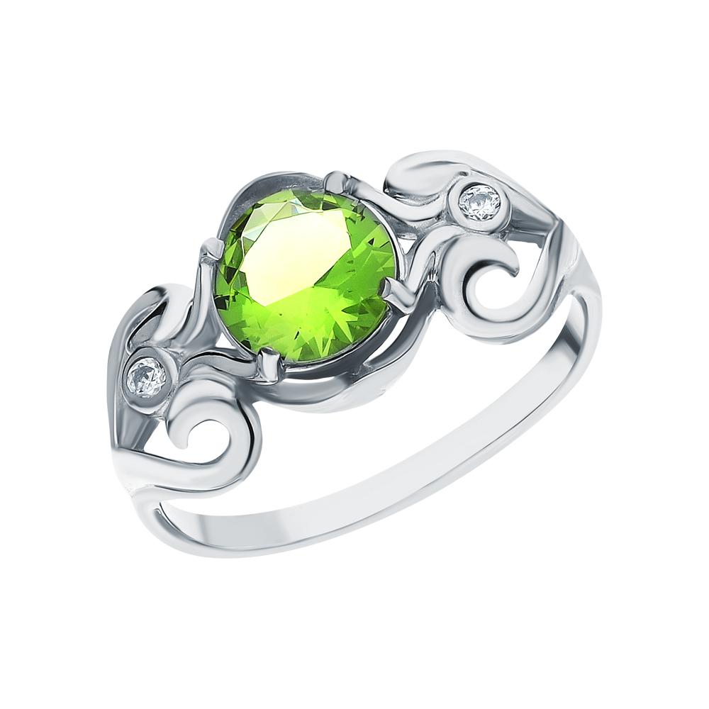 Серебряное кольцо с хризолитом и фианитами в Екатеринбурге