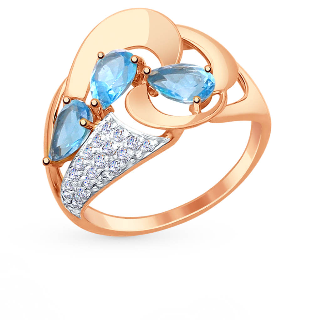 золотое кольцо с топазами и фианитами SOKOLOV 714804*
