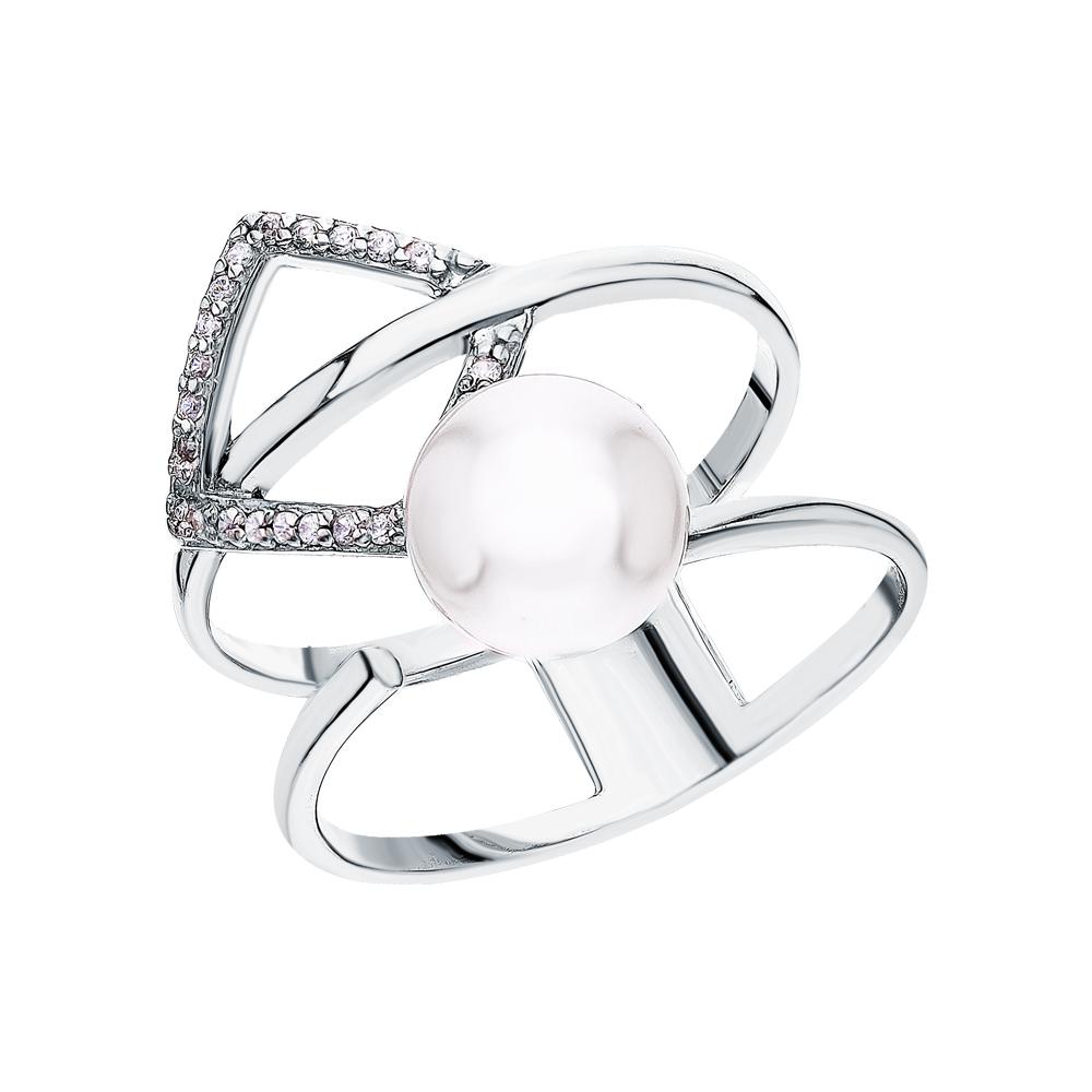 Фото «Серебряное кольцо с жемчугами имитациями и кубическими циркониями»