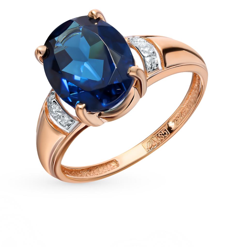 золотое кольцо с ситаллами и фианитами