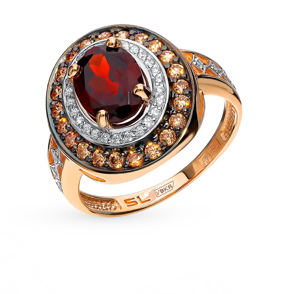 золотое кольцо с фианитами и гранатом