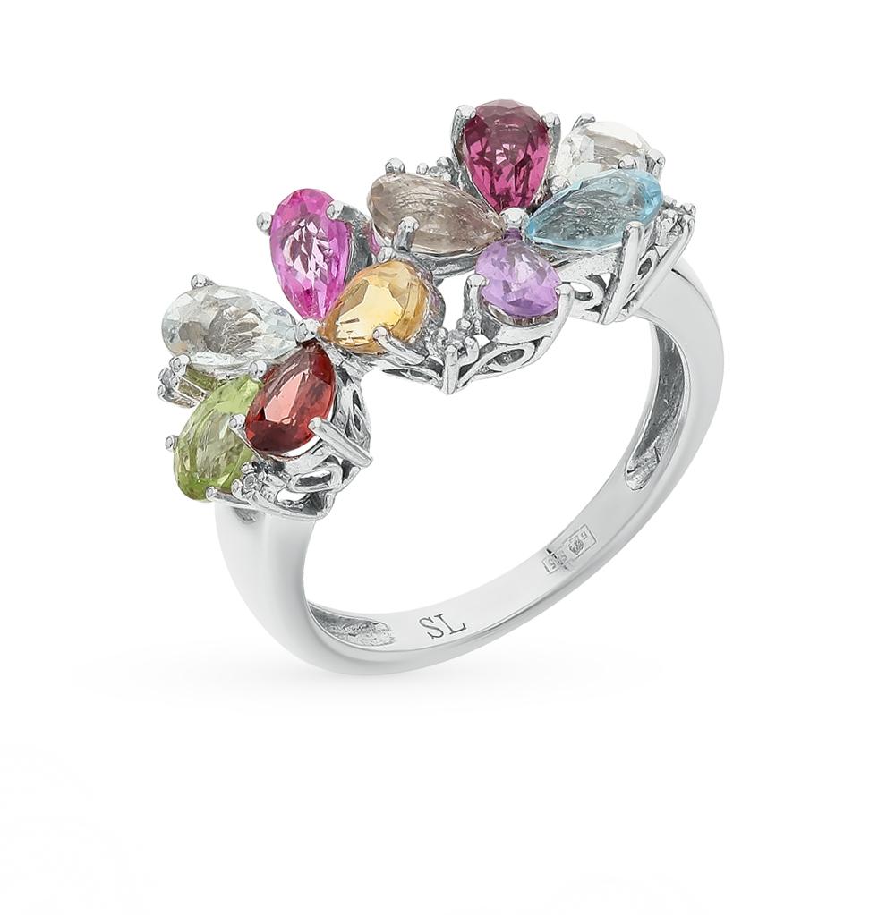 Фото «золото кольцо с аметистом, гранатом и бриллиантами»