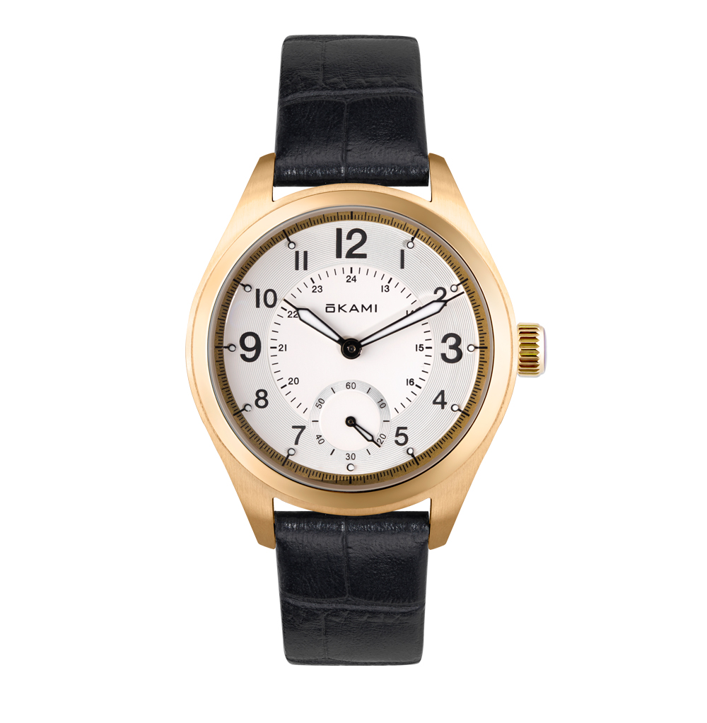 Женские часы на черном ремне из натуральной кожи