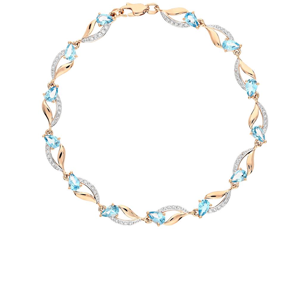 золотой браслет с топазами и фианитами SOKOLOV 750237*