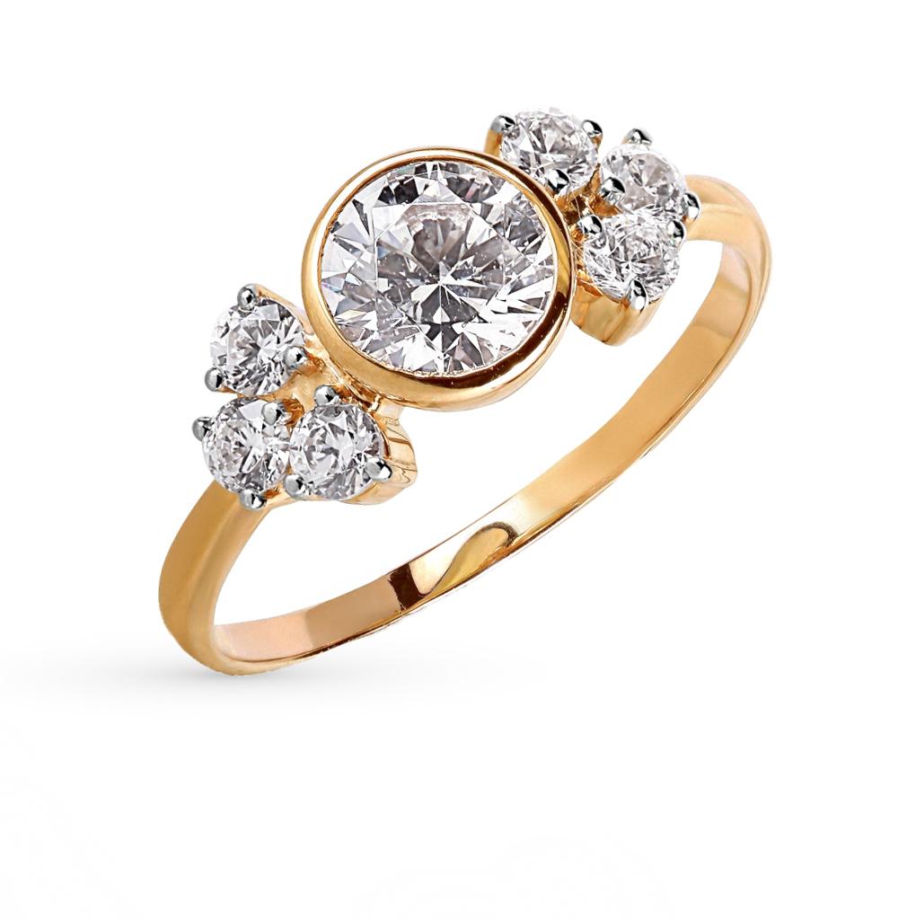 золотое кольцо с фианитами и кристаллами swarovski