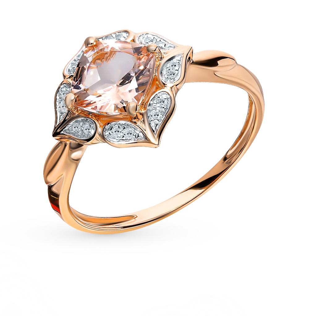 золотое кольцо с морганитами и бриллиантами