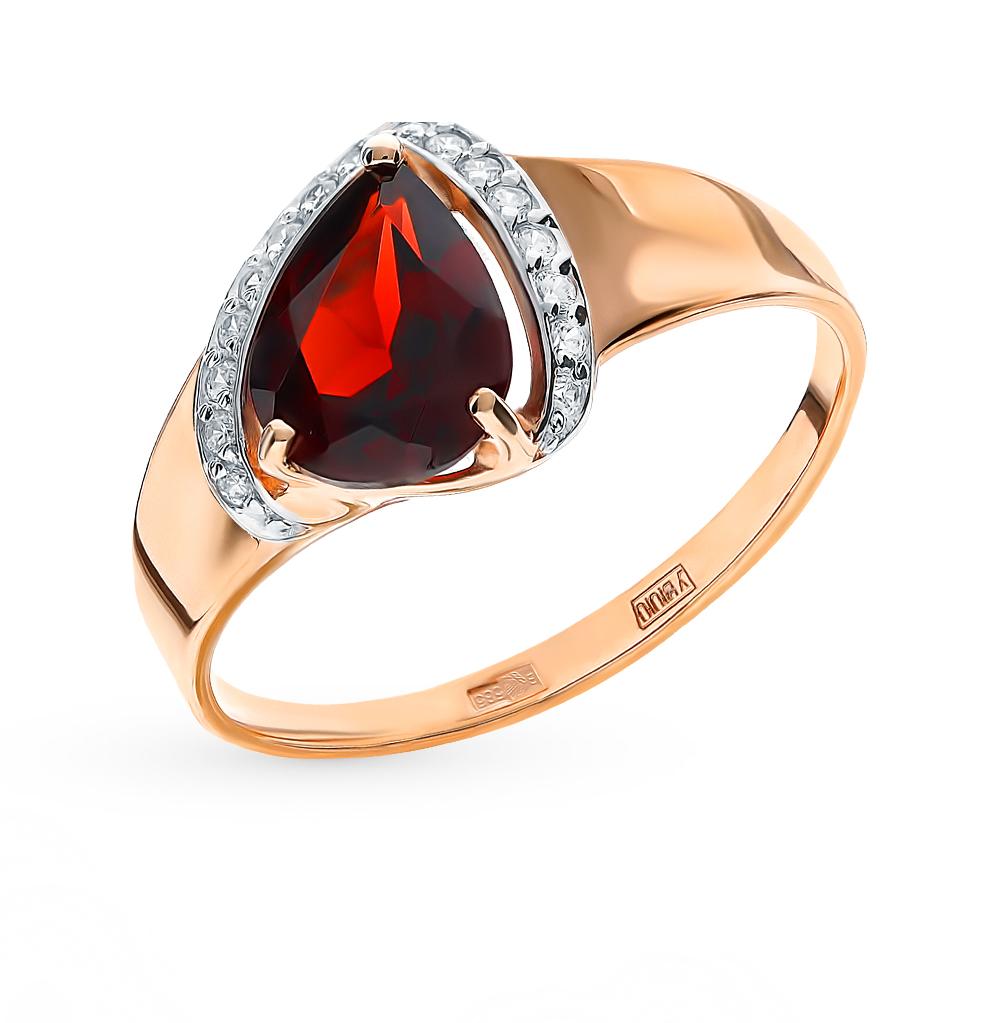 золотое кольцо с фианитами и гранатом SOKOLOV 715268*