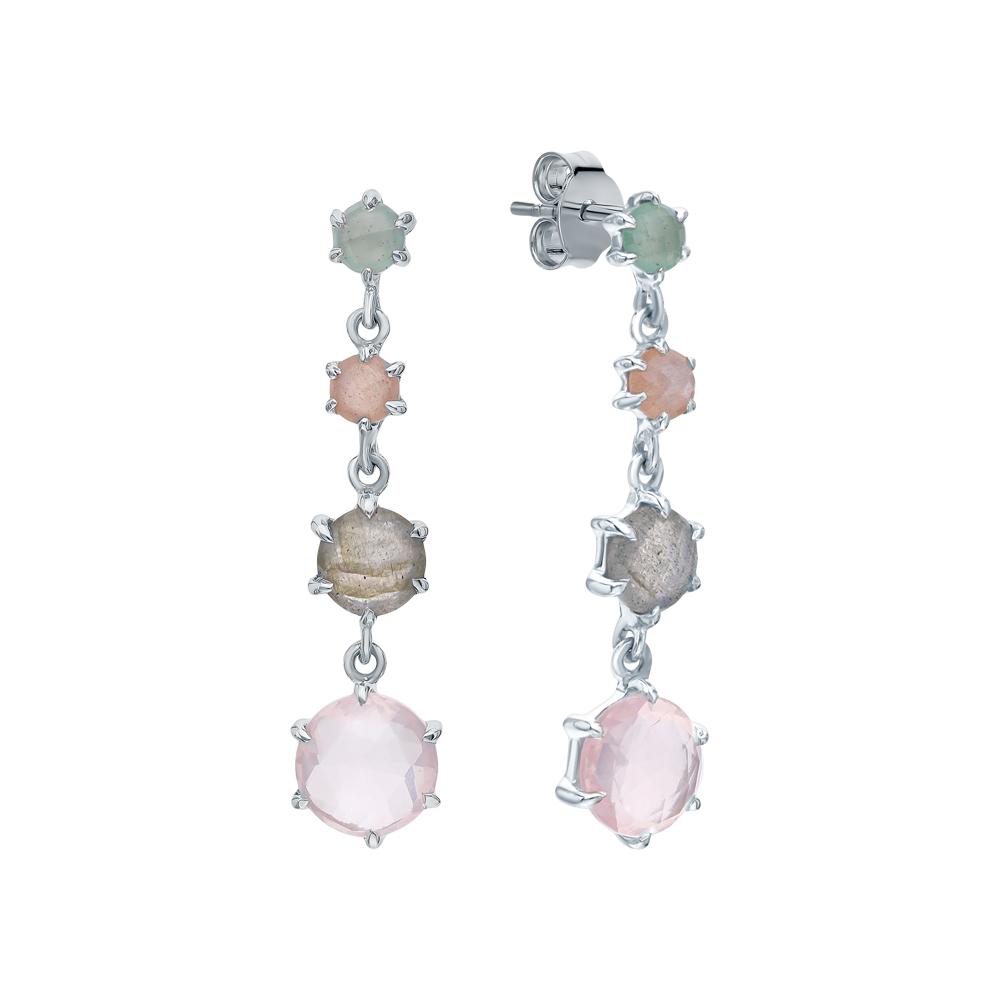 Фото «Серебряные серьги с кварцем, лунным камнем, авантюрином и лабрадоритами»