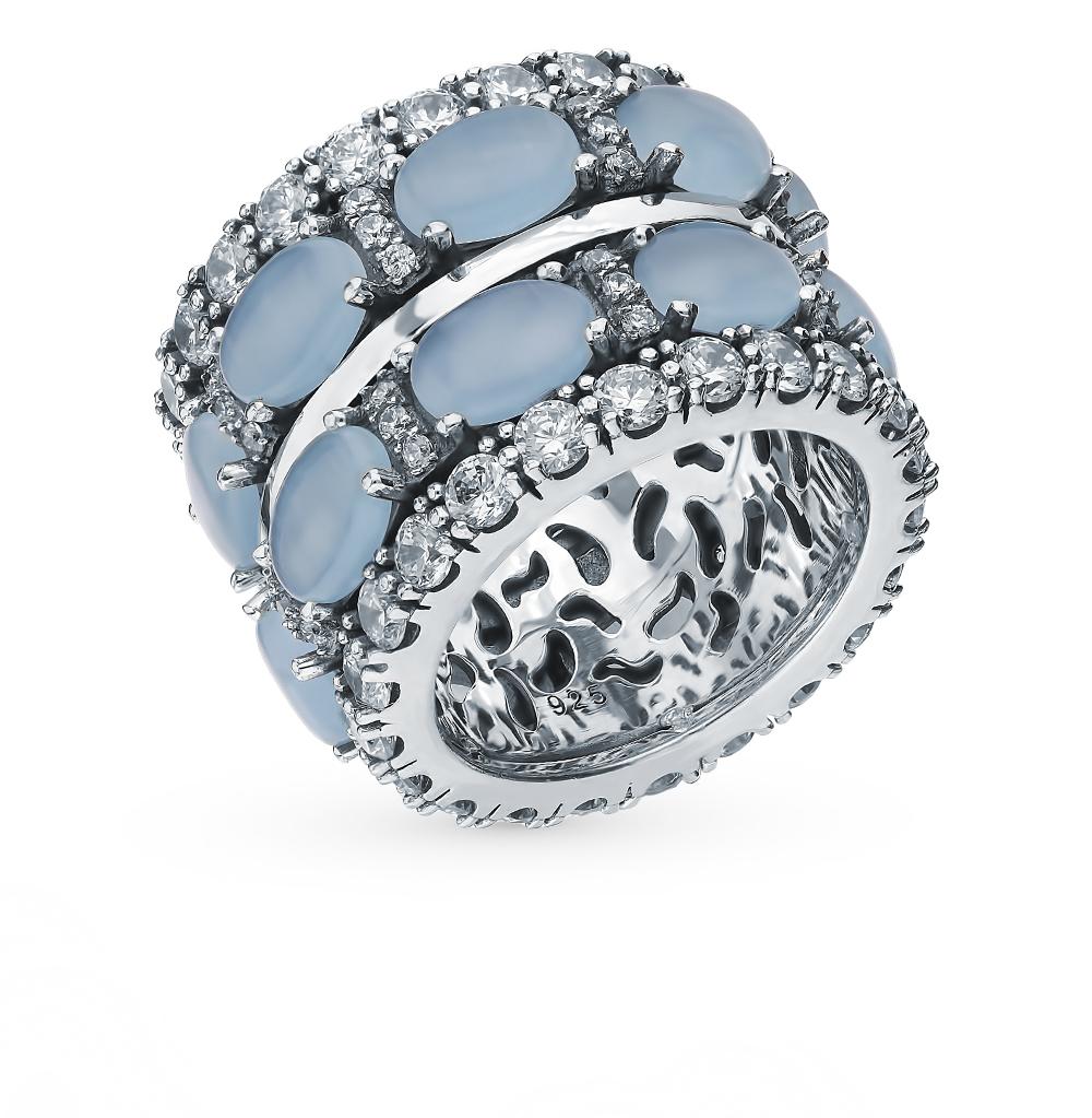 Серебряное кольцо с фианитами и кошачьим глазом