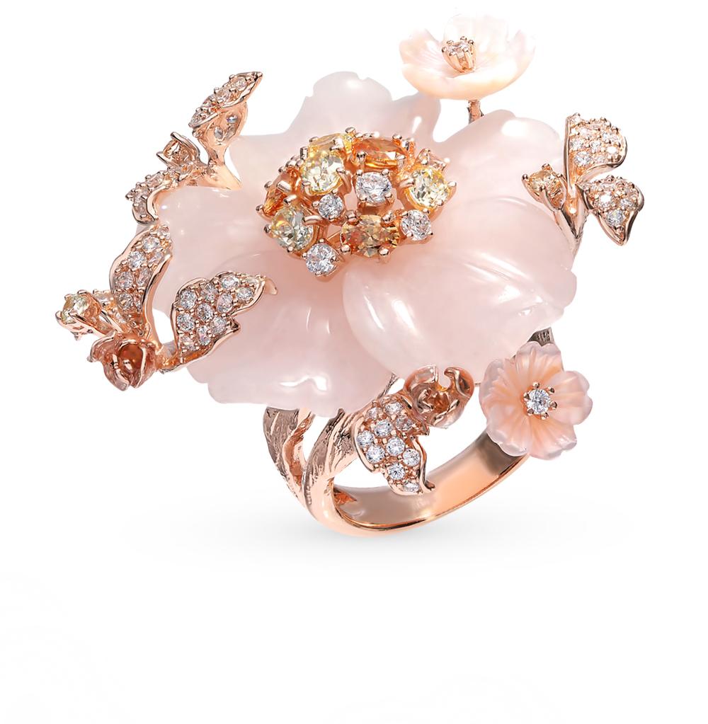 серебряное кольцо с фианитами и кубическими циркониями