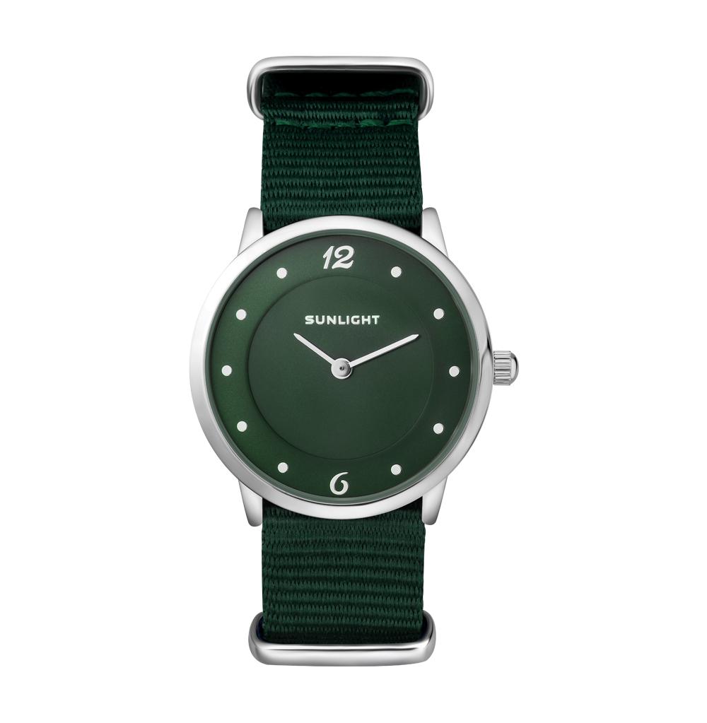 """Тонкие женские часы на текстильном ремне """"NATO"""""""