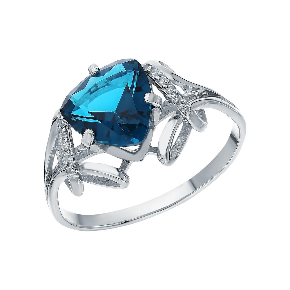 Серебряное кольцо с фианитами и кварцами синтетическими в Санкт-Петербурге
