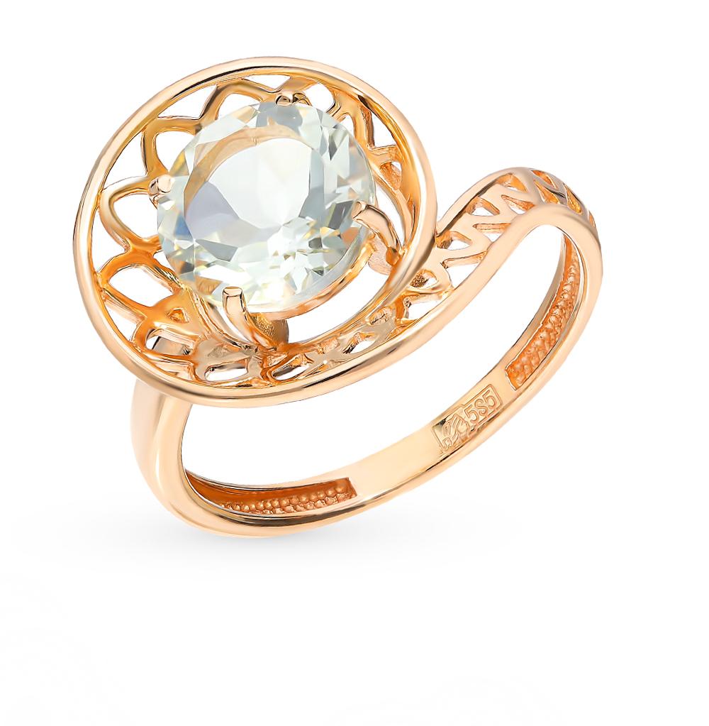 золотое кольцо с празиолитами