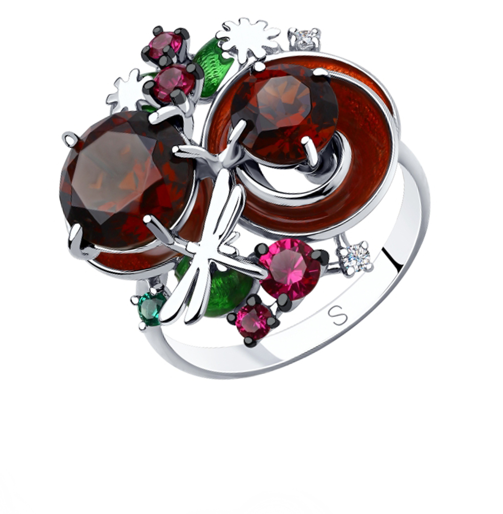 Фото «Серебряное кольцо с корундом, фианитами, эмалью и ситаллами SOKOLOV 92011874»