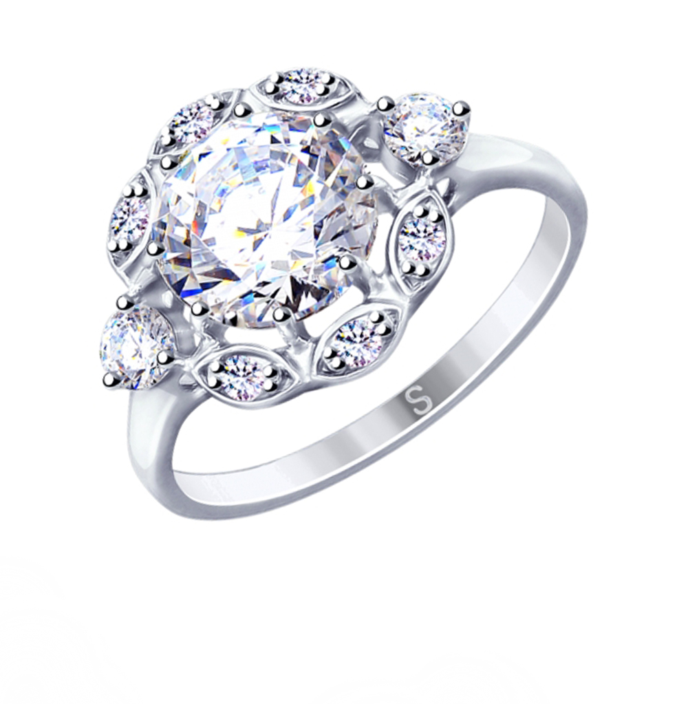 серебряное кольцо с фианитами SOKOLOV 94012950