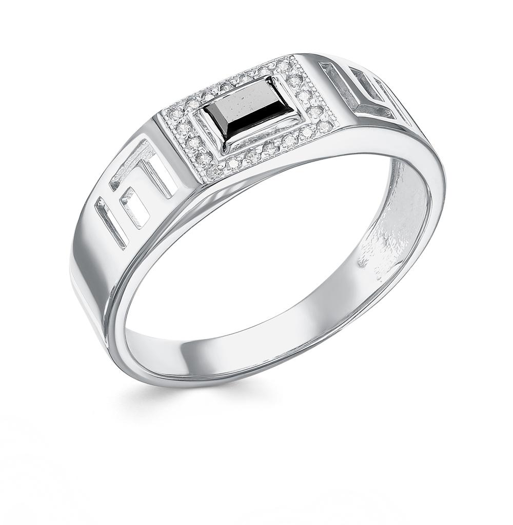Фото «Серебряное кольцо с ониксом и фианитами»