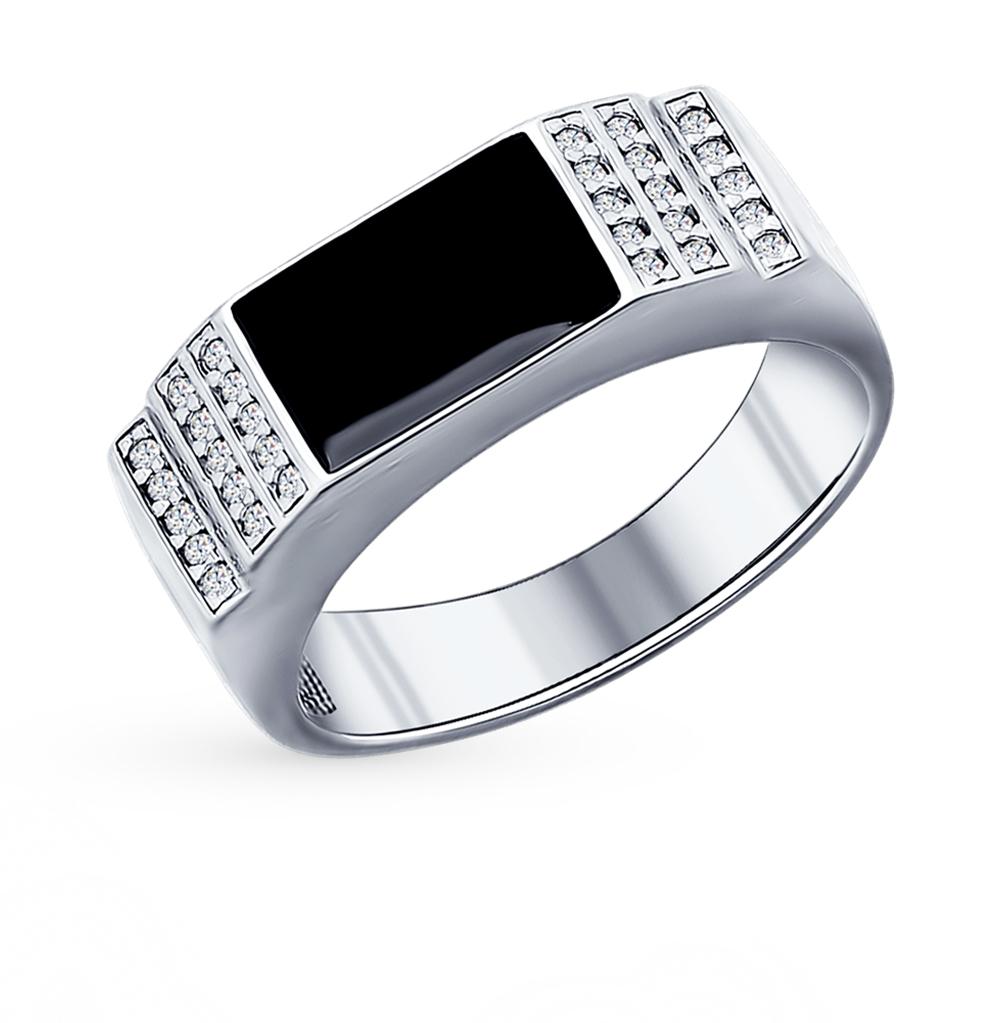 серебряное кольцо с ониксом SOKOLOV 94011390