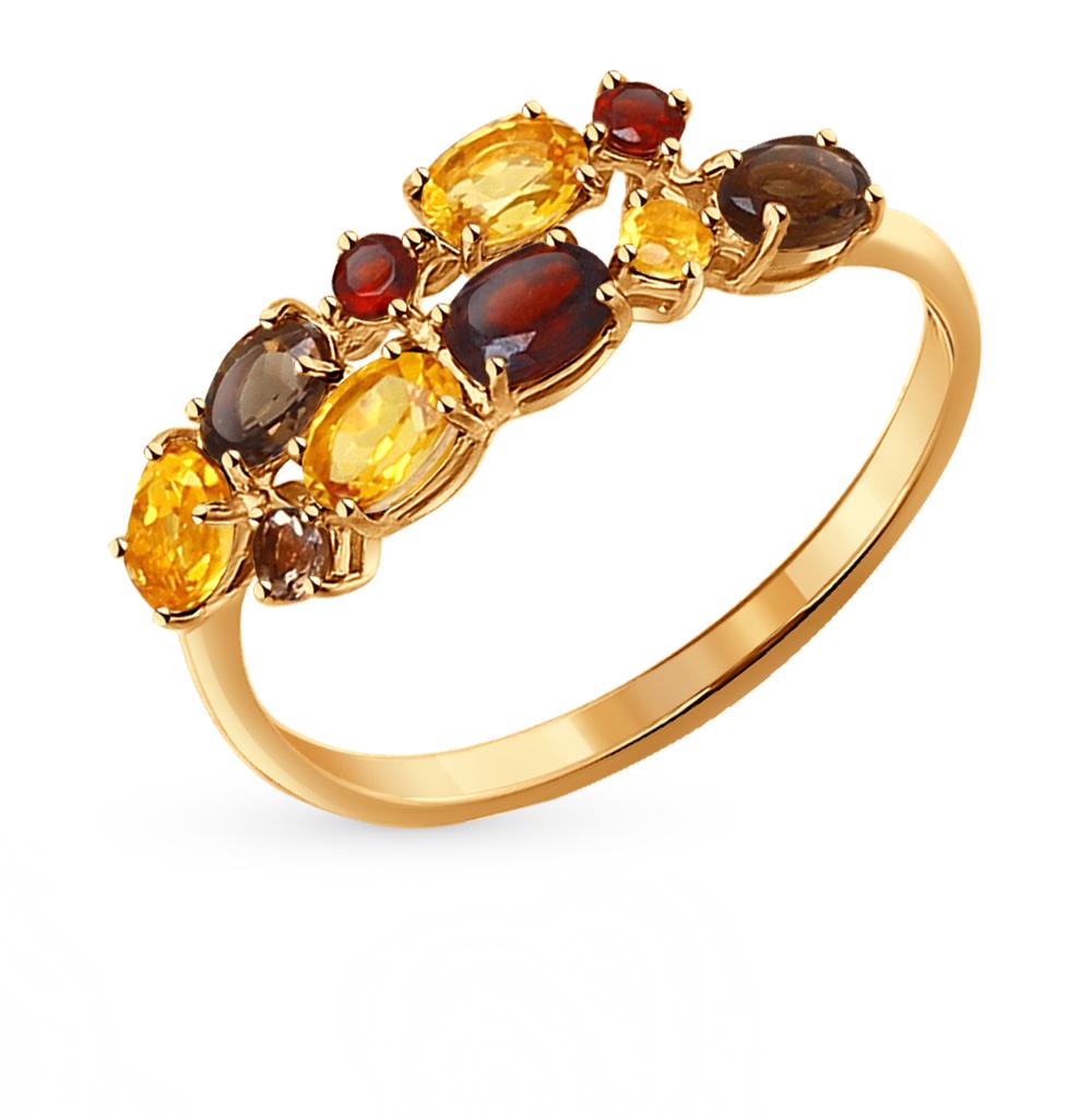 Фото «золотое кольцо с гранатом и цитринами»