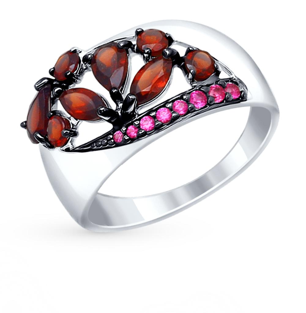 серебряное кольцо с фианитами и гранатом SOKOLOV 92011345