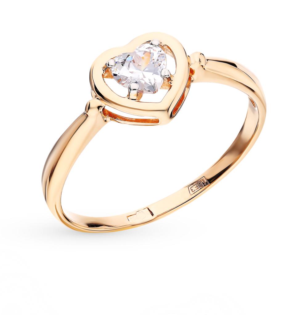 золотое кольцо с фианитами SOKOLOV 017475*