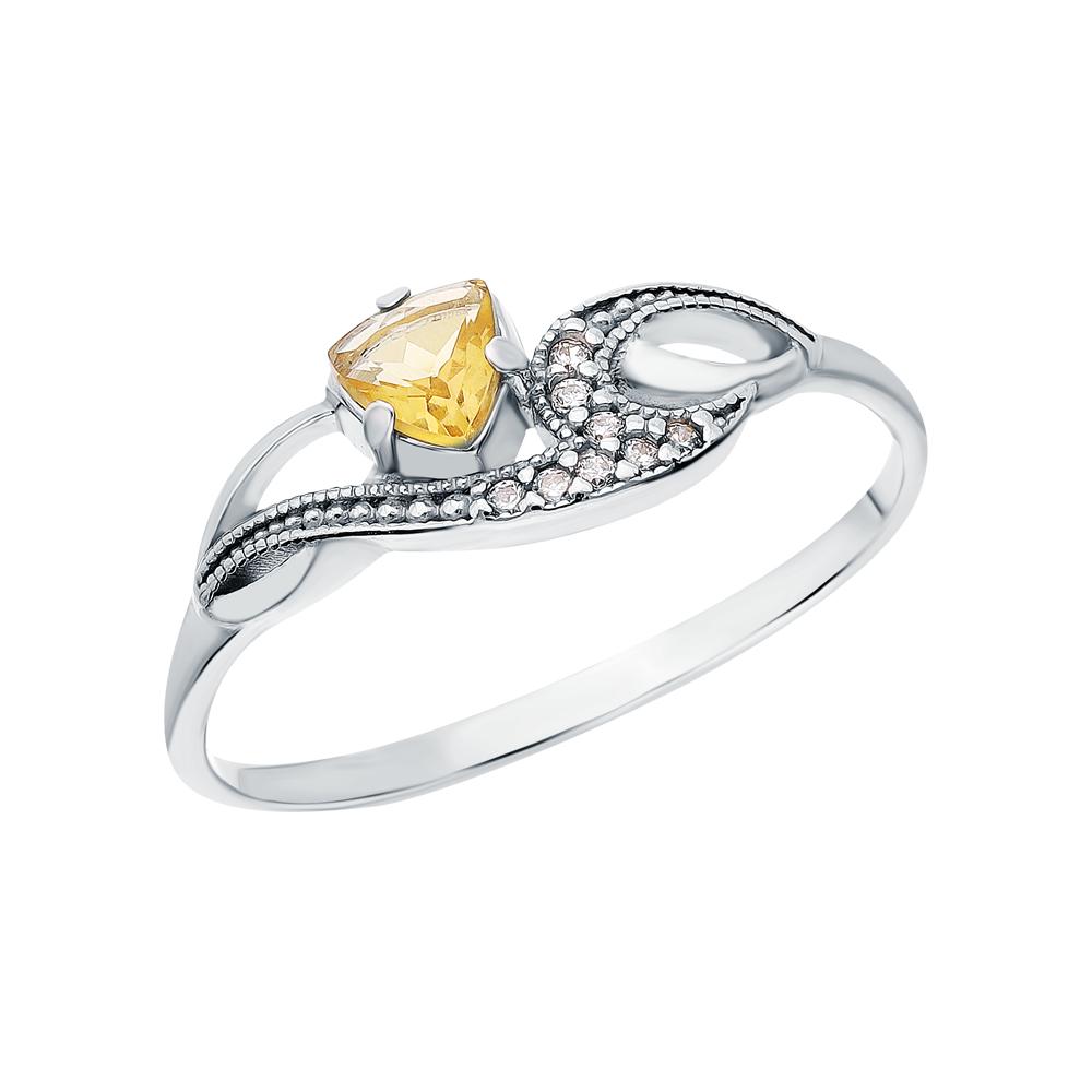 Серебряное кольцо с цитринами и кубическими циркониями в Санкт-Петербурге