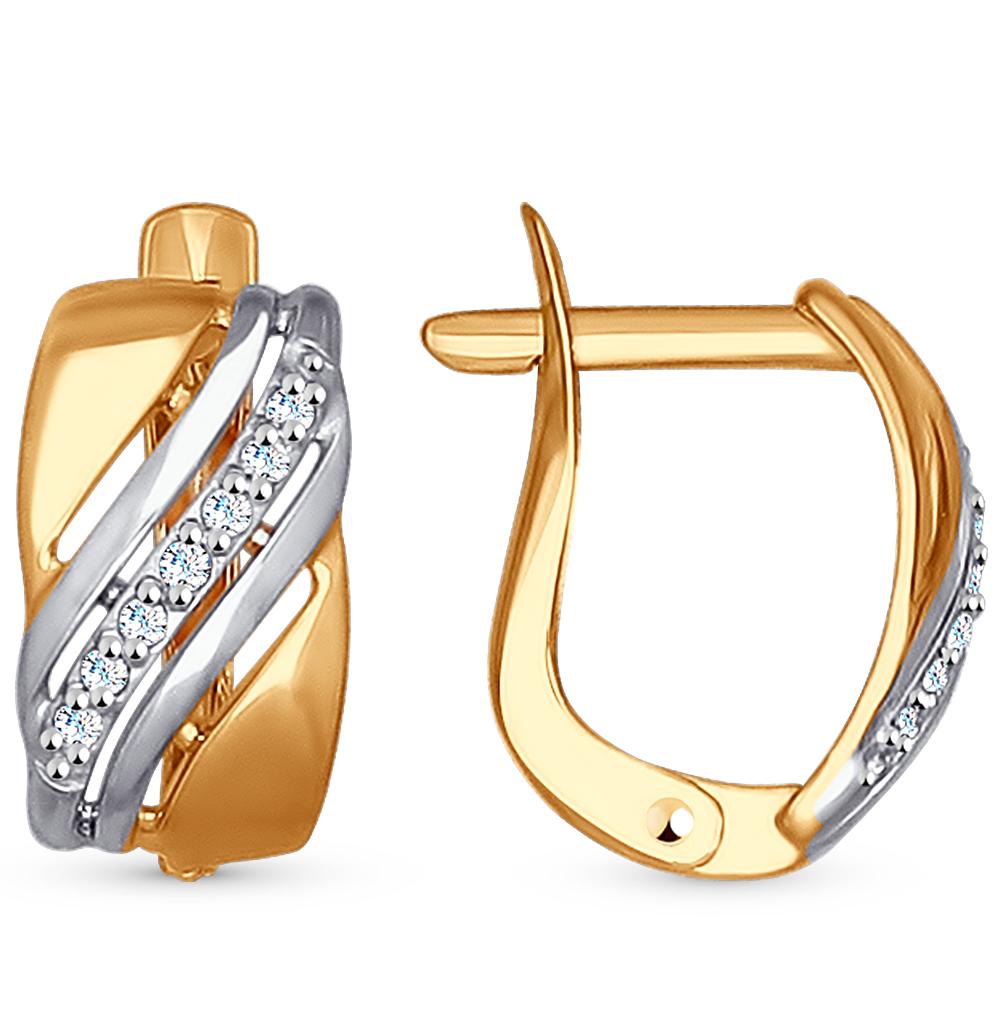 золотые серьги с фианитами SOKOLOV 027213*