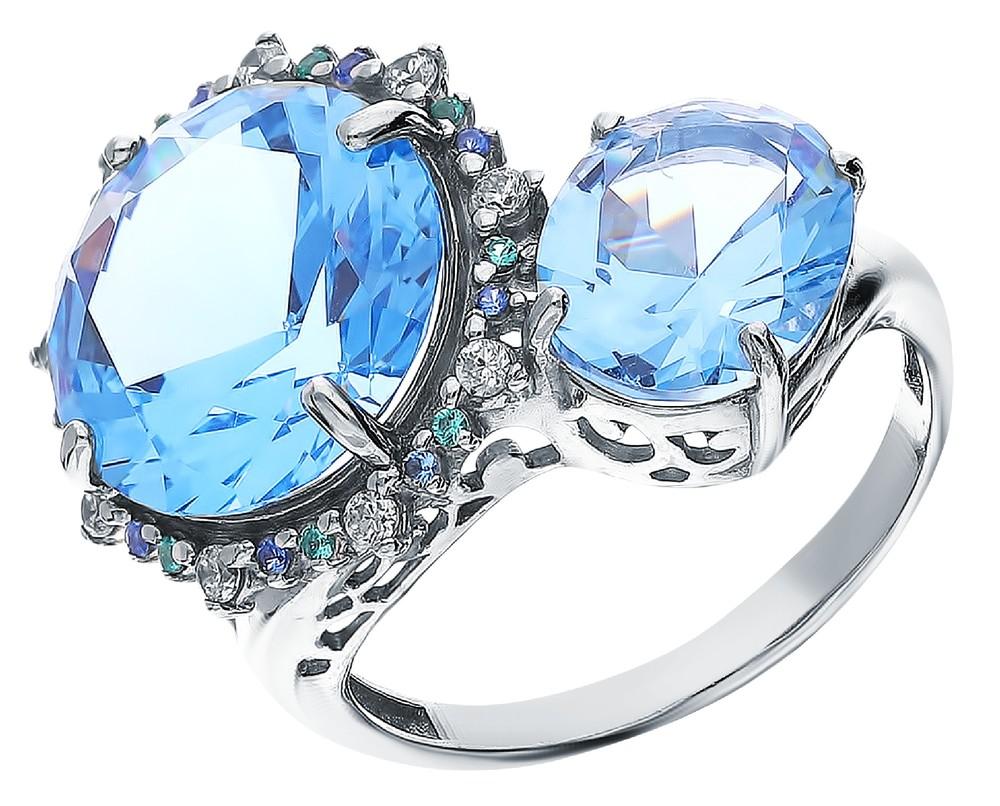 Фото «Серебряное кольцо с топазами, фианитами и наносапфирами»