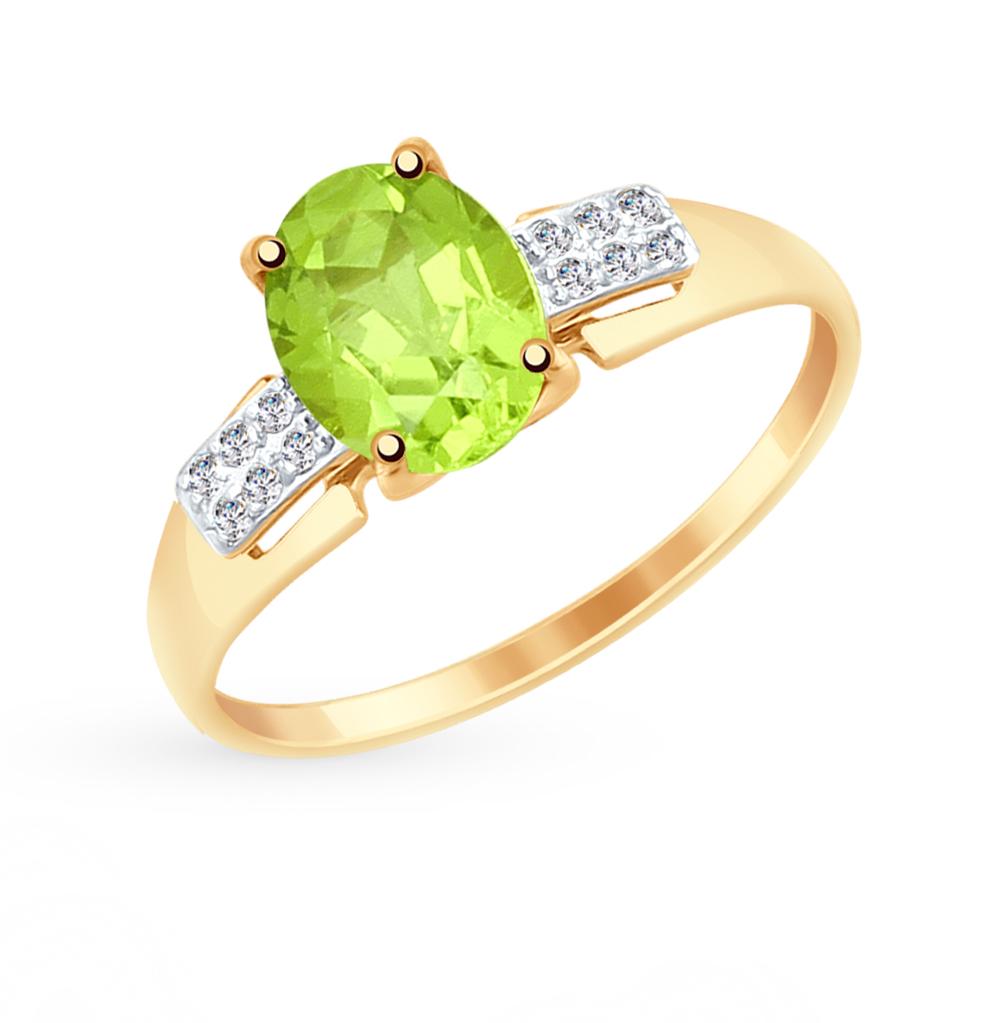 Фото «Золотое кольцо с хризолитом и фианитами SOKOLOV 715063»