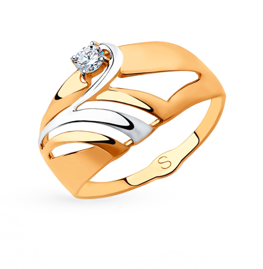 Фото «Золотое кольцо с фианитами SOKOLOV 018223»