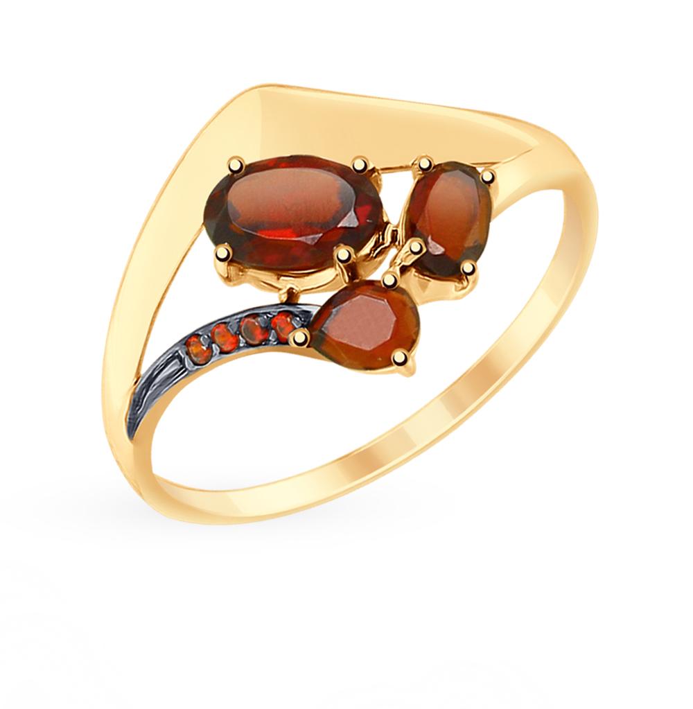 Фото «Золотое кольцо с фианитами и гранатом SOKOLOV 715365*»