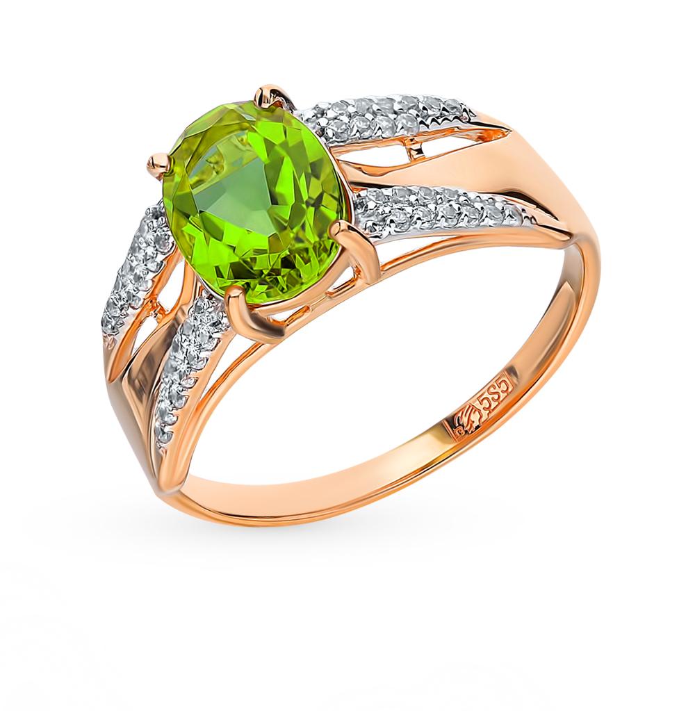 золотое кольцо с султанитами и фианитами