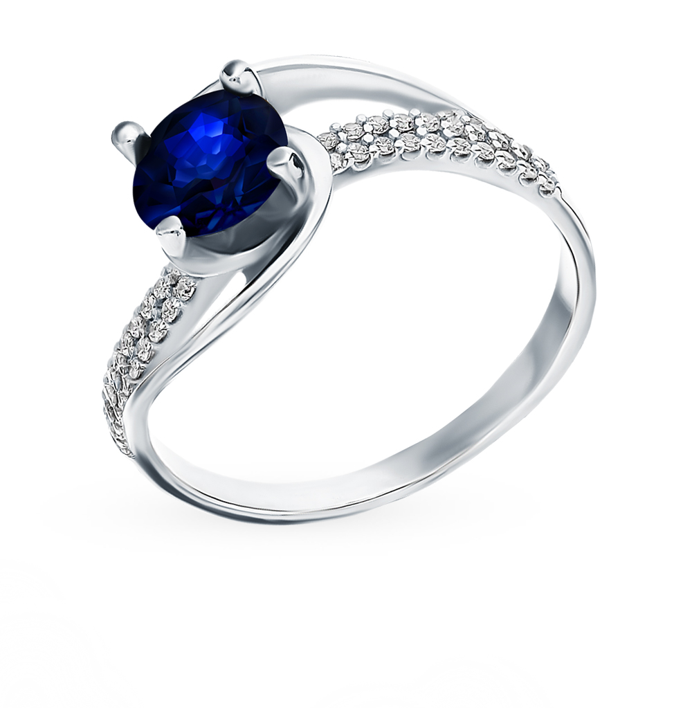 Серебряное кольцо с сапфиром и фианитами в Санкт-Петербурге