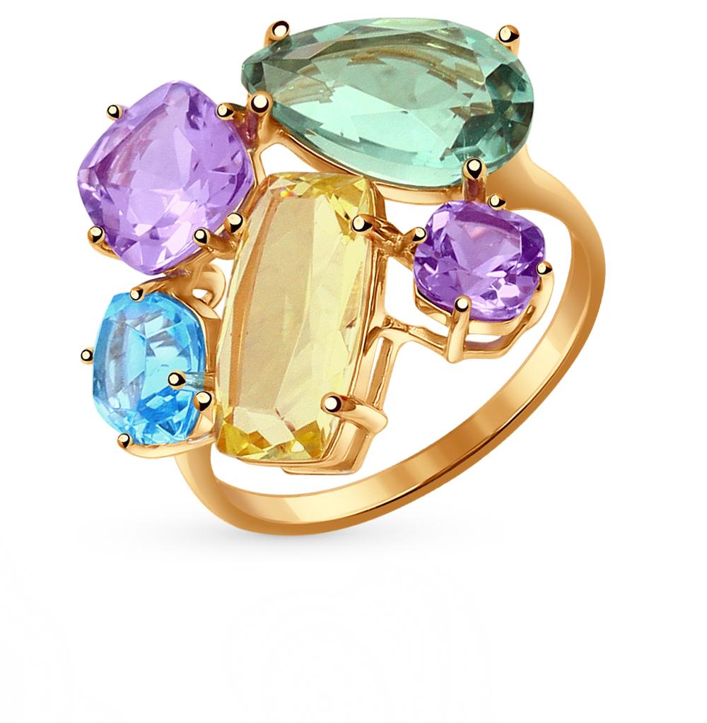 Фото «золотое кольцо с аметистом, кварцем и топазами»